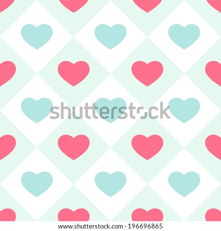 Primitive retro seamless background with hearts in square cells as tiles ideal for baby shower, wedding or valentines day - stock photo
