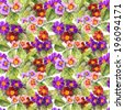 Primrose (primula) flowers. Repeated seamless floral background. Aquarelle - stock photo