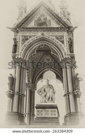 Prince Albert Memorial - Iconic, Gothic Memorial to Prince Albert from Queen Victoria. Memorial was designed by Sir George Gilbert Scott near Kensington Gardens in London, in 1876. Antique vintage. - stock photo