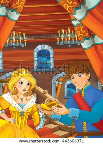 Prince and princess in the castle hall - talking - prince is holding shoe that belongs to princess - illustration for children