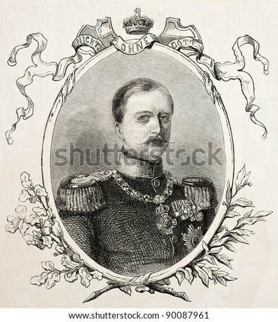 Prince Charles-Anthony of  Hohenzollern-Sigmaringen, Prussian prime minister. By unidentified author, published on L'Illustration, Journal Universel, Paris, 1858 - stock photo