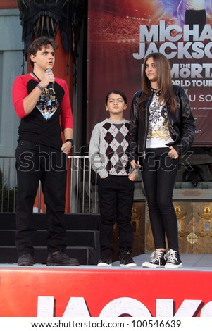 Prince Jackson, Blanket Jackson, Paris Jackson at Michael Jackson Immortalized at Grauman's Chinese Theatre, Hollywood, CA 01-26-12 - stock photo