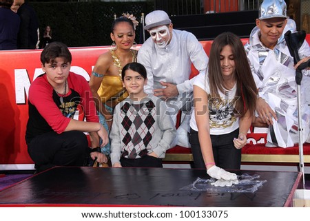Prince Jackson, Paris Jackson, Blanket Jackson at Michael Jackson Immortalized at Grauman's Chinese Theatre, Hollywood, CA 01-26-12 - stock photo
