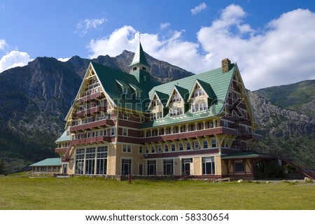 Prince of Wales Hotel in Waterton lakes national park, alberta, canada - stock photo