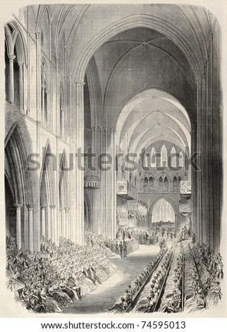 Prince of Wales investiture as Knigth of Saint-Patrick in Dublin cathedral. By Janet-Lange and Cosson-Smeeton, after sketch of Tomsohn, published on L'Illustration, Journal Universel, Paris, 1868 - stock photo