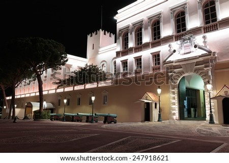 Prince's Palace in Monaco at night - stock photo