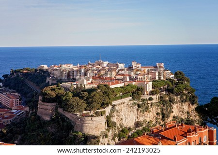Prince's Palace in Monaco, view from the exotic gardens, daytime - stock photo