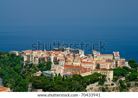 Princely palace, Cathedral and Oceanography museum in Monaco old town - stock photo