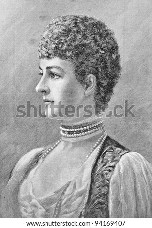 "Princess Alexandra of Wales. Engraving by Roberts  from picture by painter Van-der-Wide. Published in magazine ""Niva"", publishing house A.F. Marx, St. Petersburg, Russia, 1893"