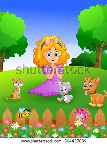 princess and her pets in the garden
