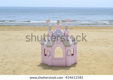 princess castle on a beach in Italy - stock photo