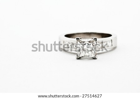 Princess cut white gold ring with princess diamond channels - stock photo