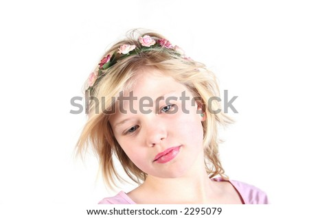 princess girl with flowers in her hair - stock photo