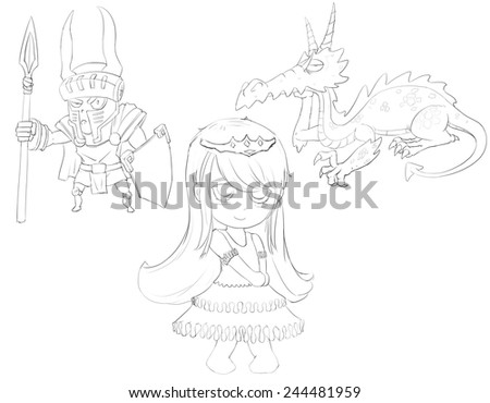 Princess, Knight, Dragon - Character Design for children - Line Art - stock photo