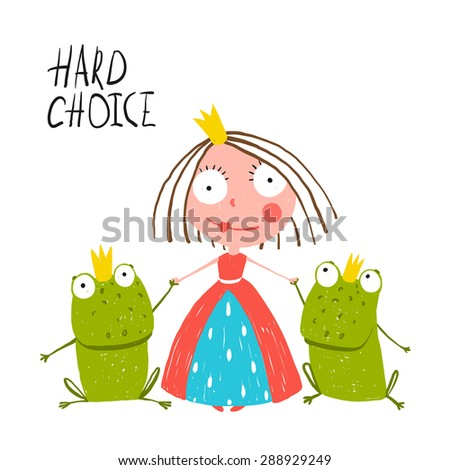 Princess Making Choice between Two Prince Frogs. Colorful fun childish hand drawn illustration for kids fairy tale. Raster variant. - stock photo