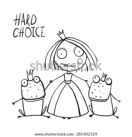 Princess Making Choice between Two Prince Frogs Coloring Page. Fun childish hand drawn outline illustration for kids fairy tale. Raster variant. - stock photo