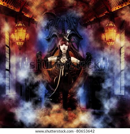 Princess of the Underworld - Dark Princess on her Throne - stock photo