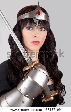 Princess with a sword - stock photo