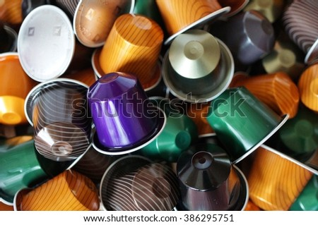 PRINCETON, NJ -5 MARCH 2016- Colorful Nespresso single dose coffee capsules. Some cities are now banning single-serve capsule because of the waste they produce in the environment.