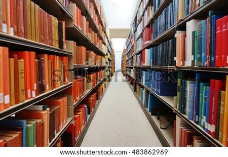 PRINCETON, NJ -10 SEP 2016- Stacks of colorful bound books line up the shelves of a research library.