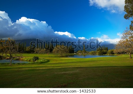 Princeville golf course on Kauai Hawaii. More with keyword Series001E. - stock photo