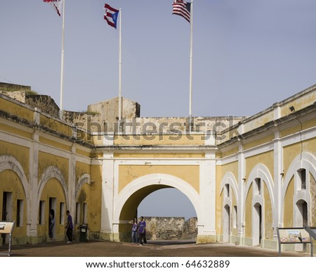 Principal plaza of Old San Juan Fort San Felipe del Morro. A 16th century citadel constructed to protect the town from attack by sea.  Photographed December 2009 - stock photo