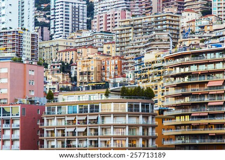 Principality of Monaco, France, on October 16, 2012. A view of the residential areas on a slope of mountains at sunset
