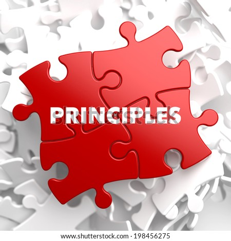 Principles on Red Puzzle on White Background. - stock photo