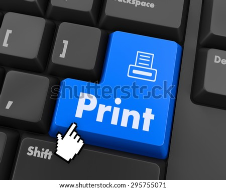 Print Button on Computer Keyboard. Internet Concept. - stock photo