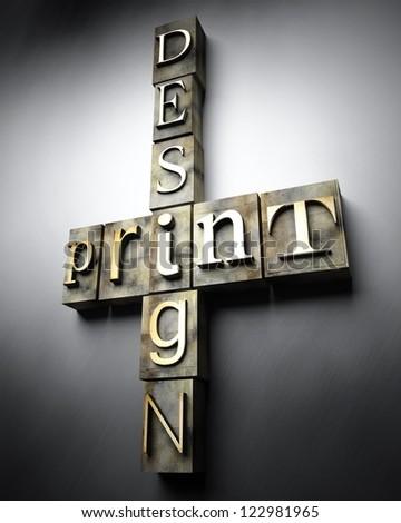 Print design concept, 3d vintage letterpress text - stock photo