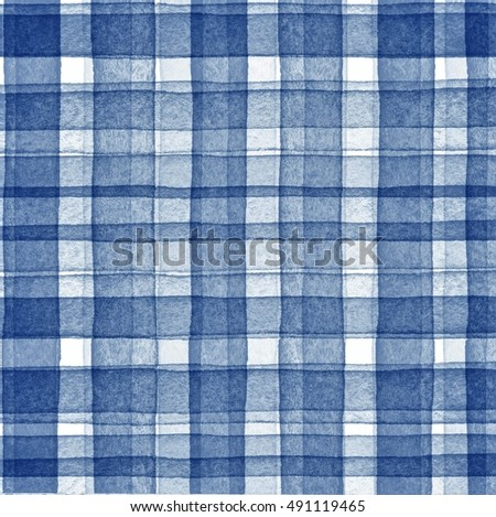 Print Fabric. Plaid Material. Abstract Hand Drawing Pattern Fabric Texture  Square Blue.