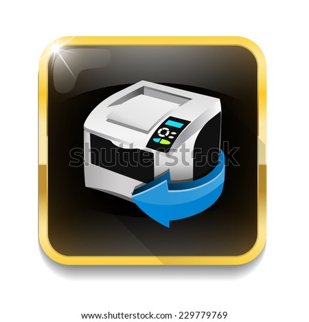 print icon With long shadow over app button - stock photo