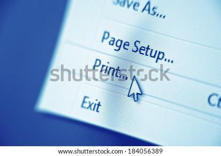 print menu on monitor screen - stock photo