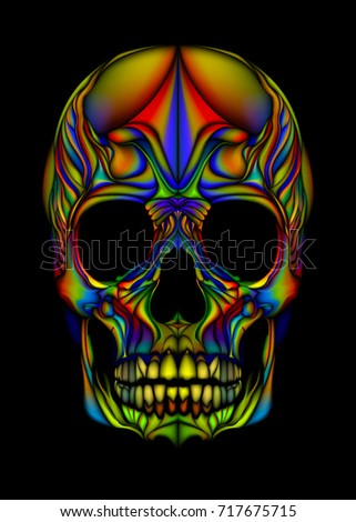 Print Multi Color Skull Bright With High Definition Scary Halloween