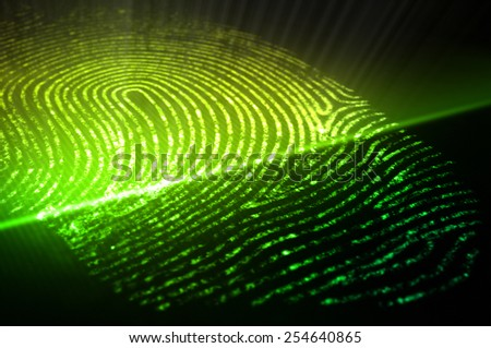 Print of finger and scan system - stock photo
