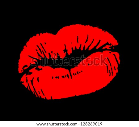 Print of red lips. - stock photo