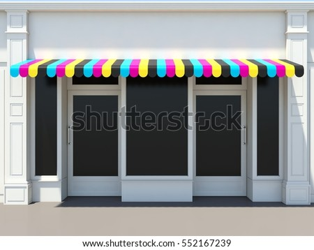 Print shop facade with two doors - classic store front with CMYK sunshade 3D render
