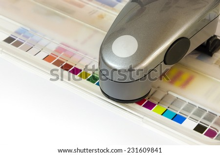 Print Spectrophotometer on Chart color control measurement - stock photo