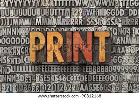 print - text in vintage wood letterpress printing blocks against grunge metal typeset - stock photo