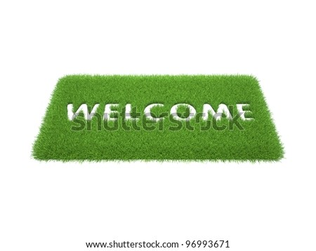 print the words are welcome on the mat of green grass - stock photo
