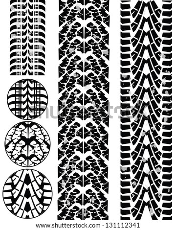 Print various automobile tyres - stock photo