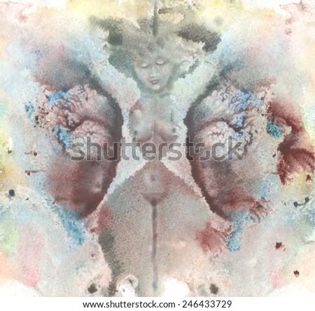 Print watercolor texture Abstract watercolor .Nudes women sleep  - stock photo