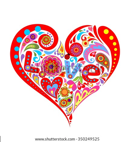 Print with heart for Valentines day - stock photo
