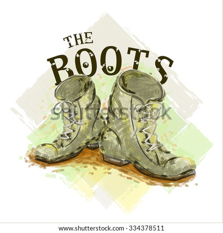 print with the image of old shoes to shirts - stock photo