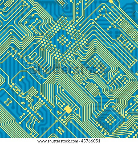Printed blue industrial circuit board graphical texture