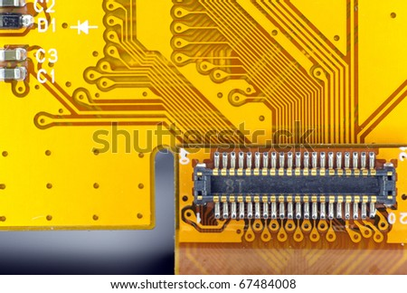 Printed circuit board connector macro detail - stock photo