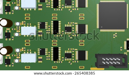 Printed Circuit Board green with resistors, capacitors, connectors and chip - stock photo