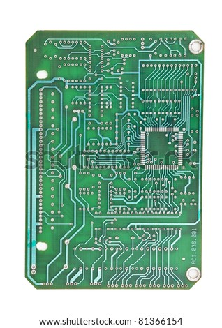 printed circuit board isolated on white background - stock photo