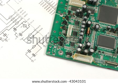printed circuit board  with electronic chips and electronic scheme
