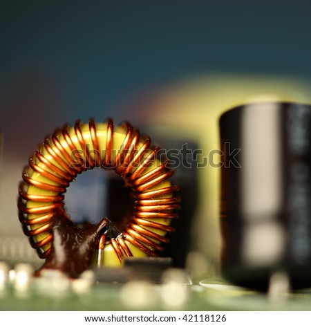 printed circuit board with electronic components, shallow depth of field - stock photo